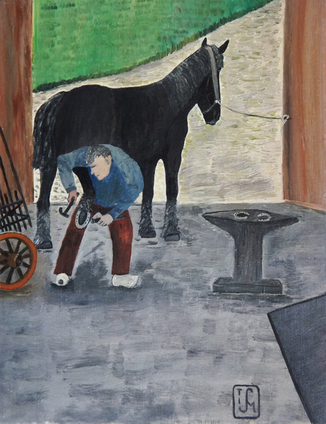 Joop Smits painting - At the Blacksmith