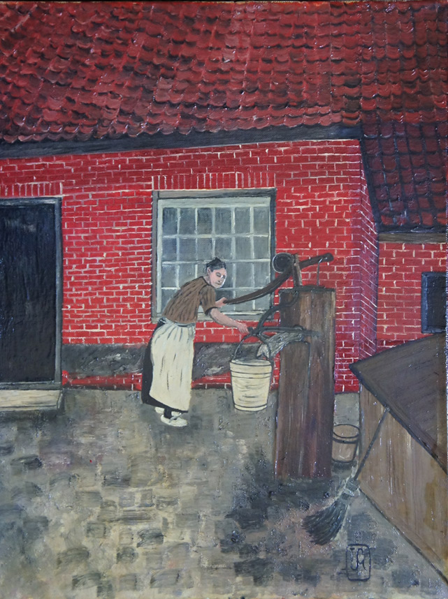 Joop Smits painting - At the Water Pump