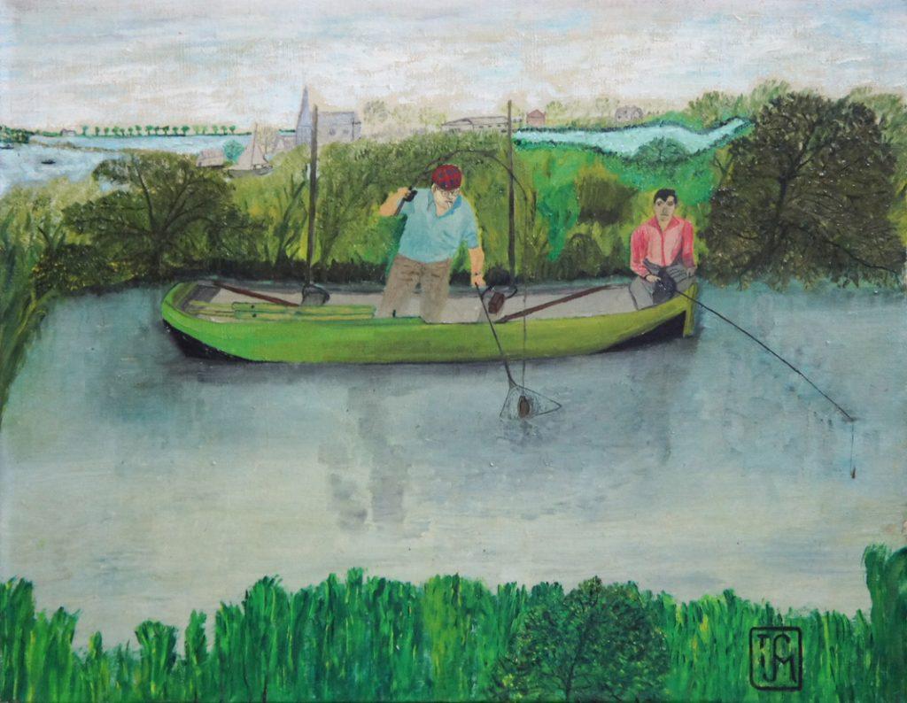 Joop Smits painting - Fishing in Vinkeveen 1966