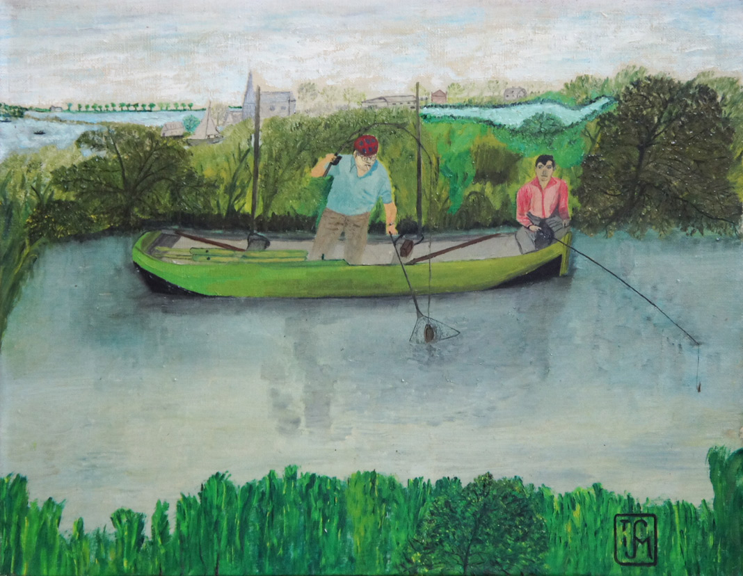 Joop Smits painting - Fishing in Vinkeveen 1966