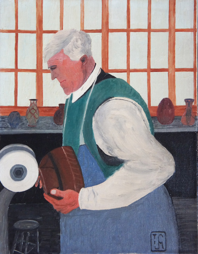 Joop Smits painting - Grinding the pots
