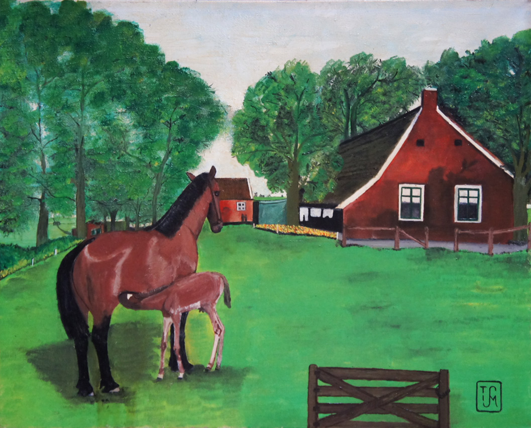 Joop Smits painting - Horse with Foal