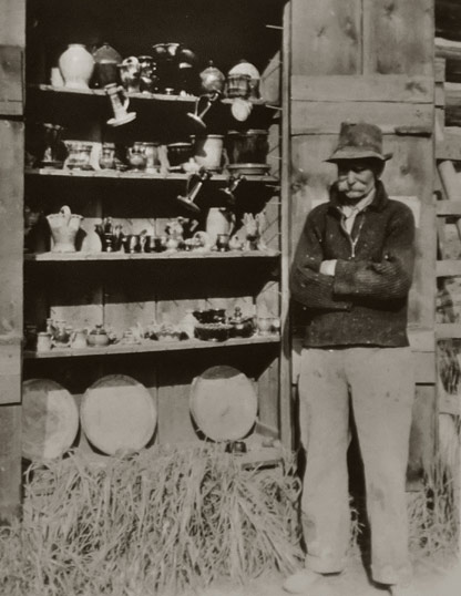 Axel Ebring in front of his display cabinet