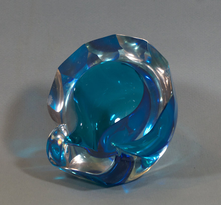 Barbini Murano blue glass ashtray