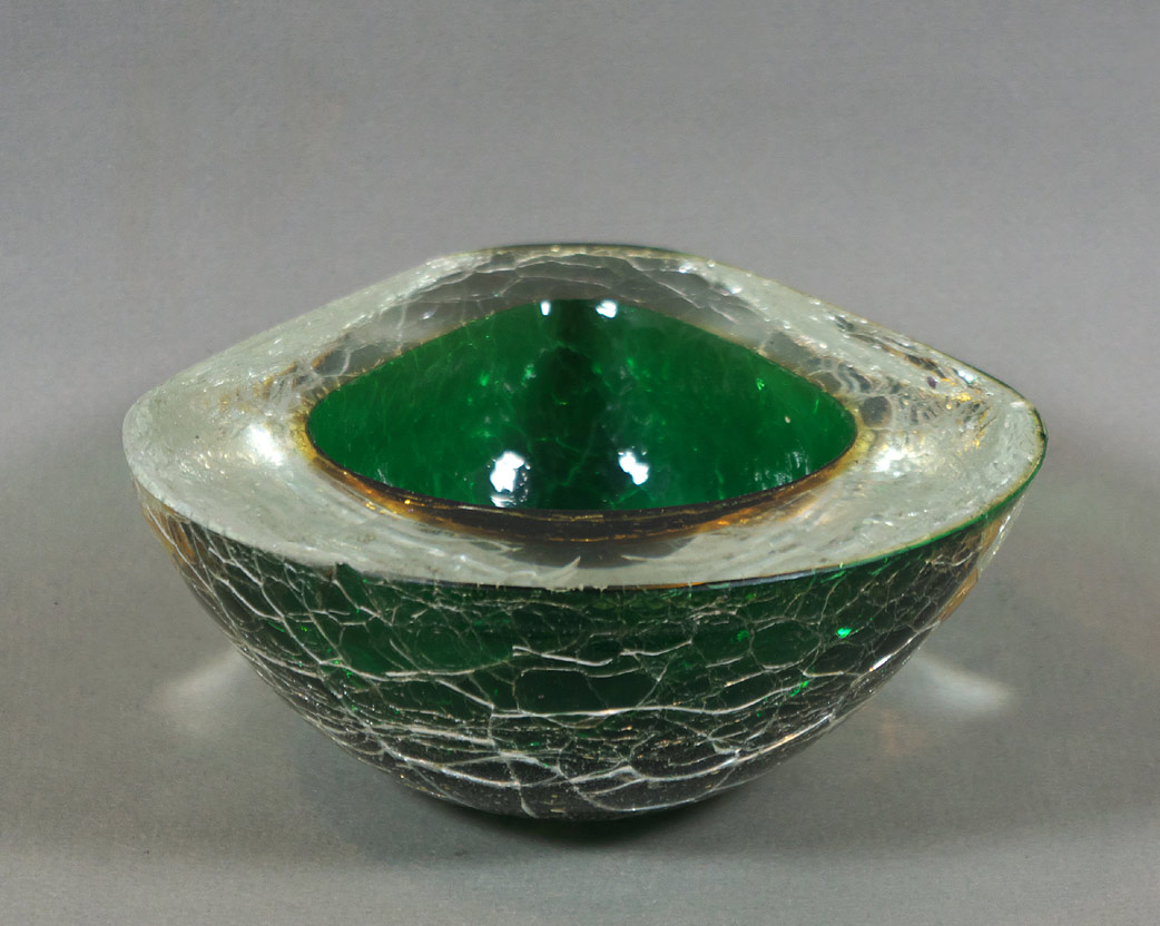 "Murano green ""cracked ice"" glass bowl"