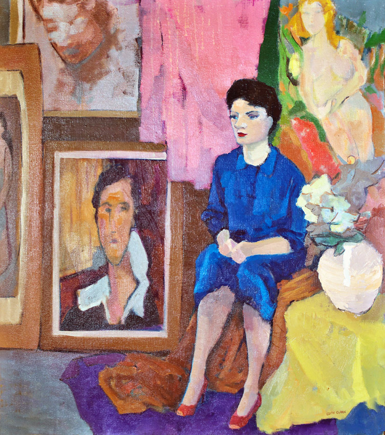 oil painting of Edith Clark sitting in her gallery in Vancouver BC., ca. 1970's