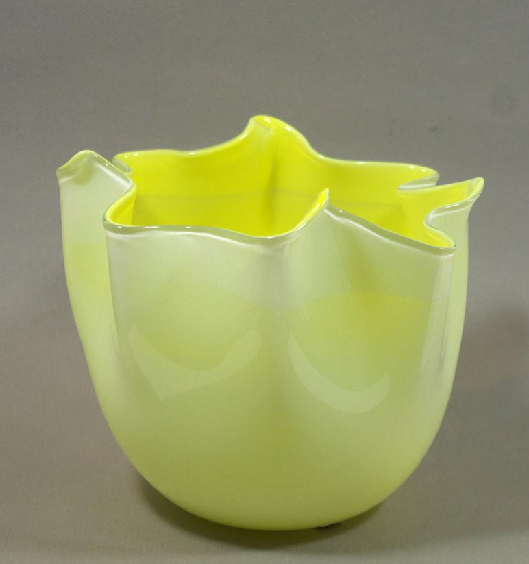 Murano glass yellow handkerchief vase