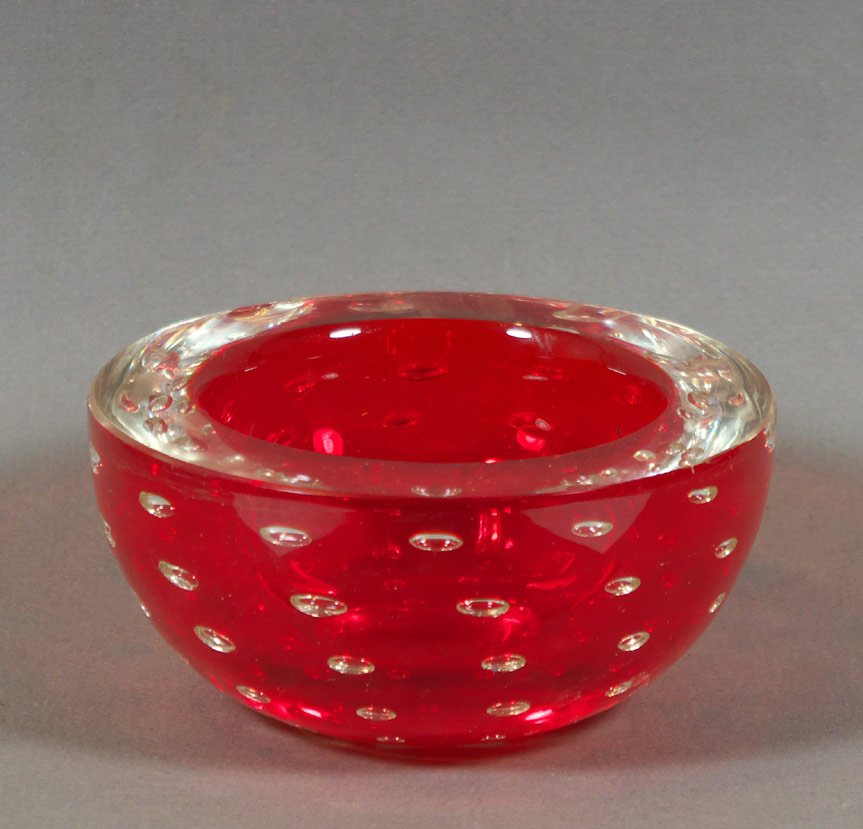 Murano red cased glass bowl