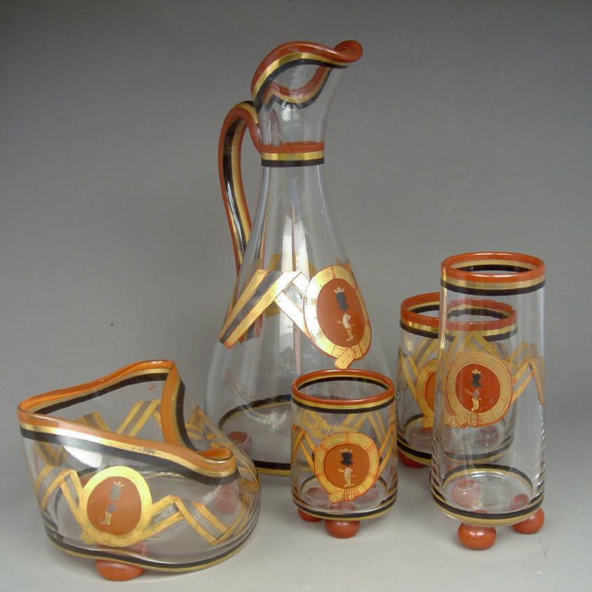 Part set of Czech glass, c.1910-1920 Jug, ht. 10″
