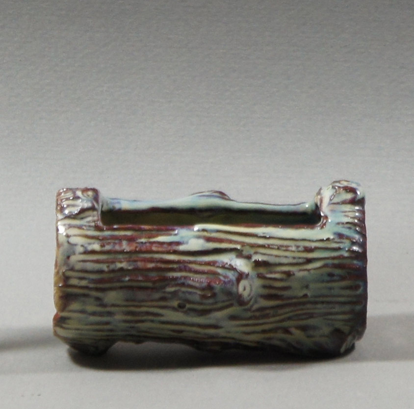 "Axel Ebring pottery match holder log, Vernon BC - 1"" high"