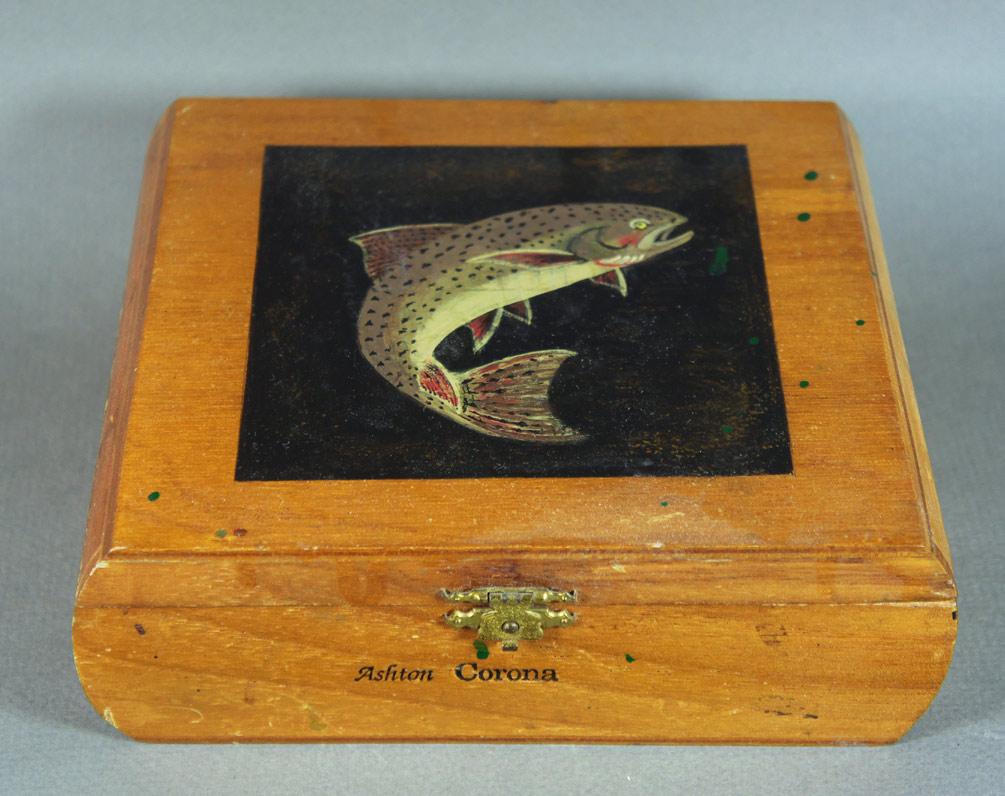 folk art painted cigar box