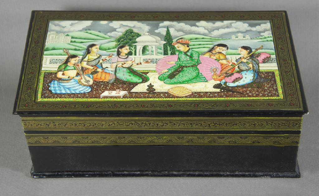 Indian decorated lacquer box