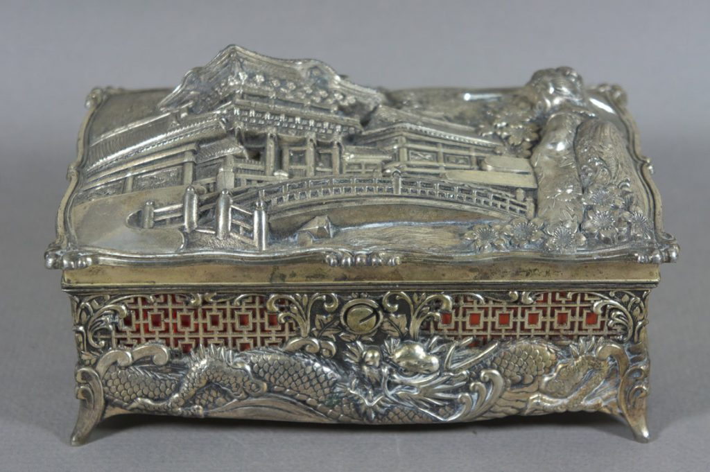 Japanese metal jewellery box