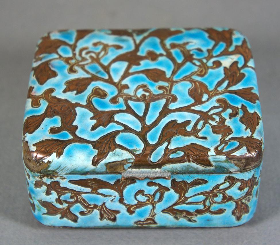 Chinese turquoise enamel box