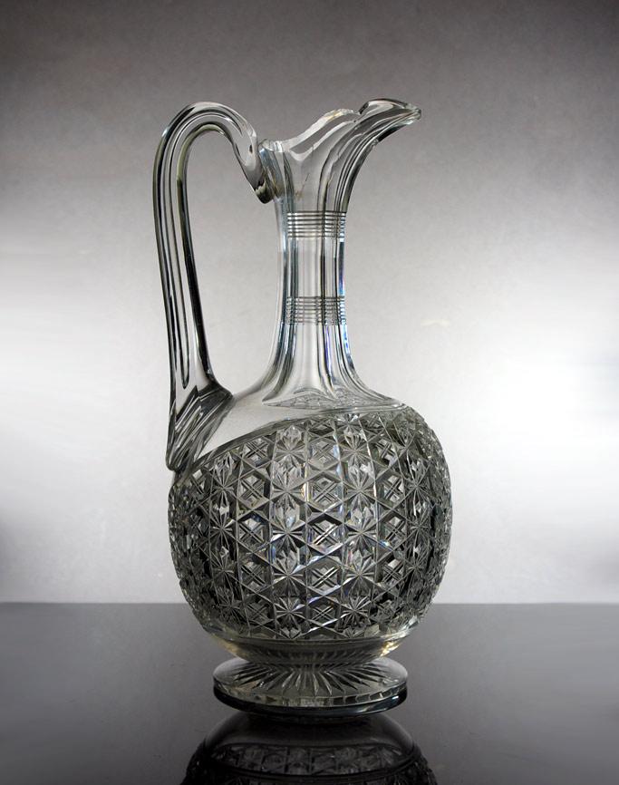 19th century cut glass claret jug