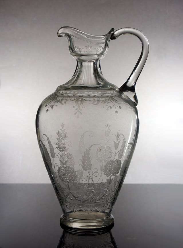 19th century cut and engraved glass wine jug