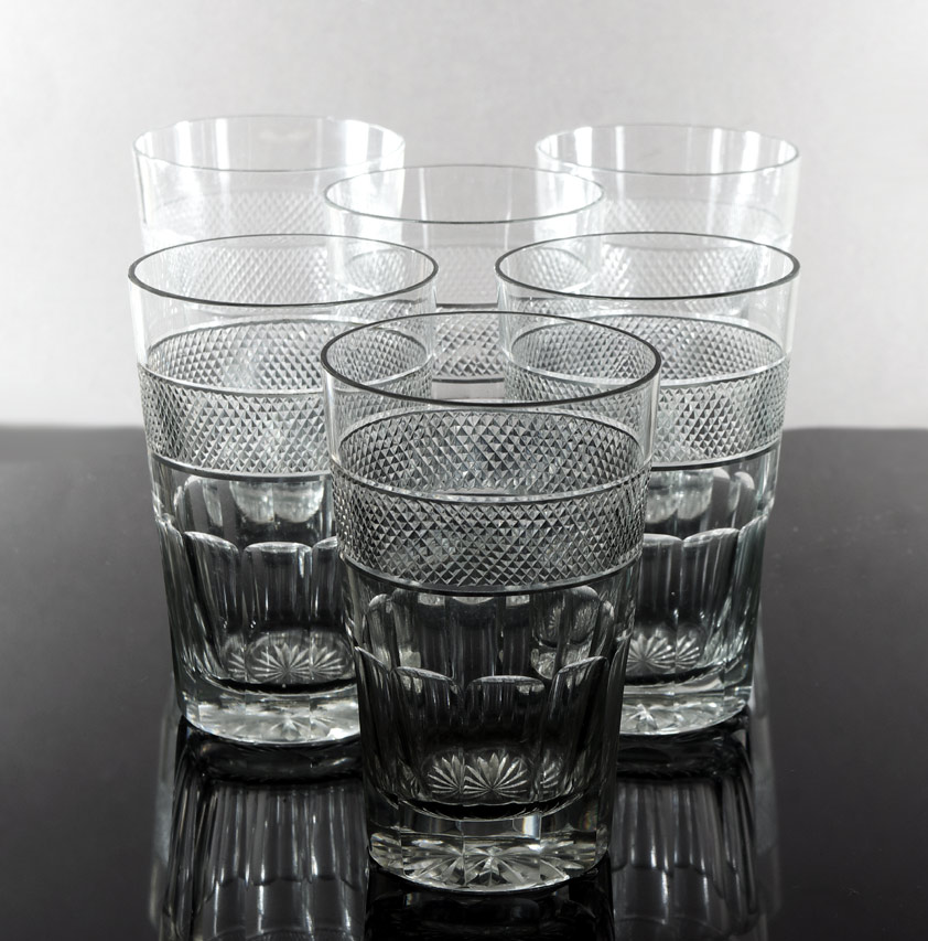 Set of six cut glass tumblers