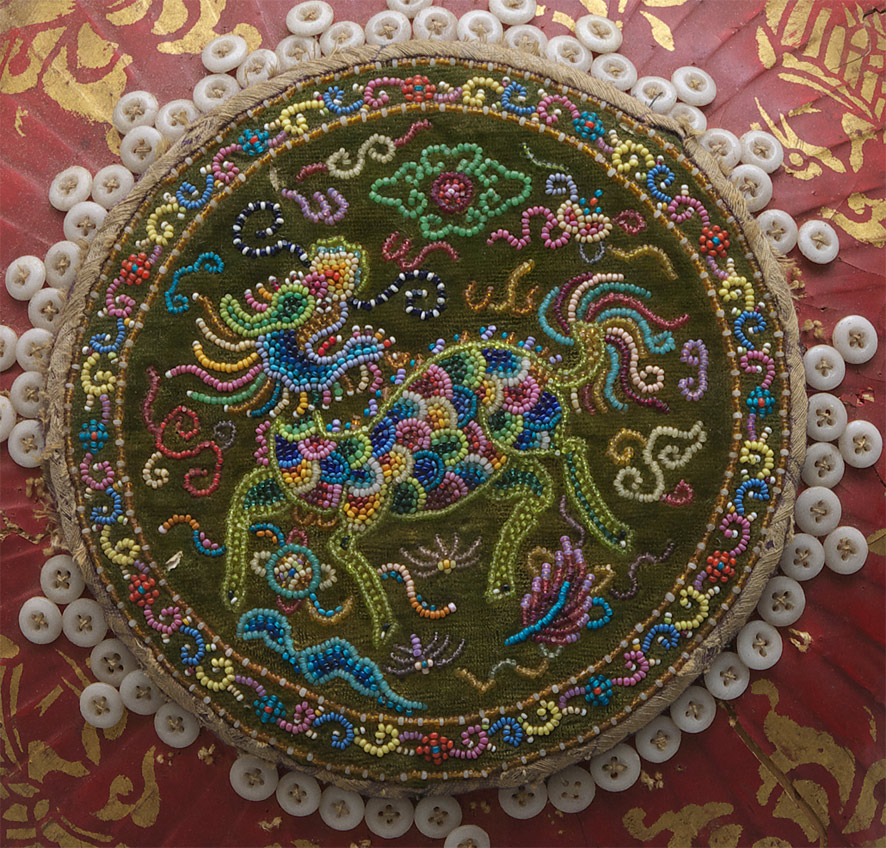 Chinese beaded wedding basket cover