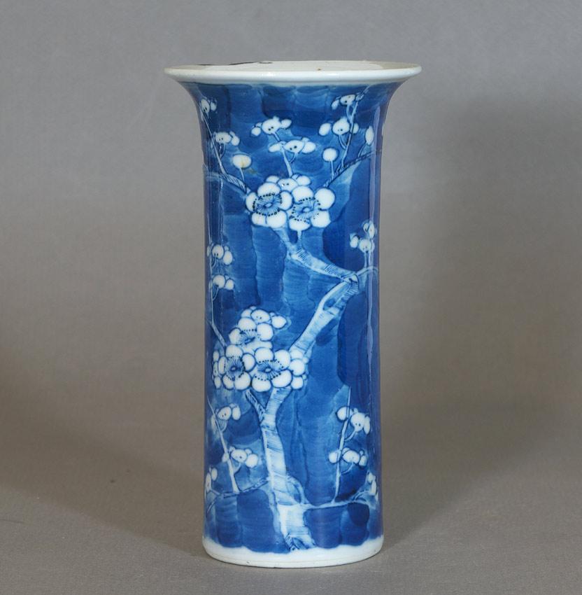 Blue and white prunus vase