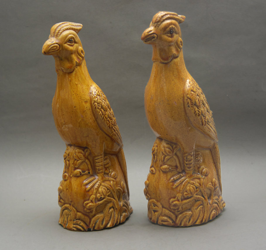 Chinese pottery figures golden pheasants