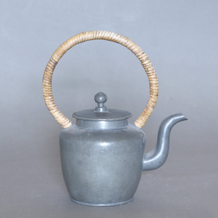 Chinese pewter military sentry's teapot