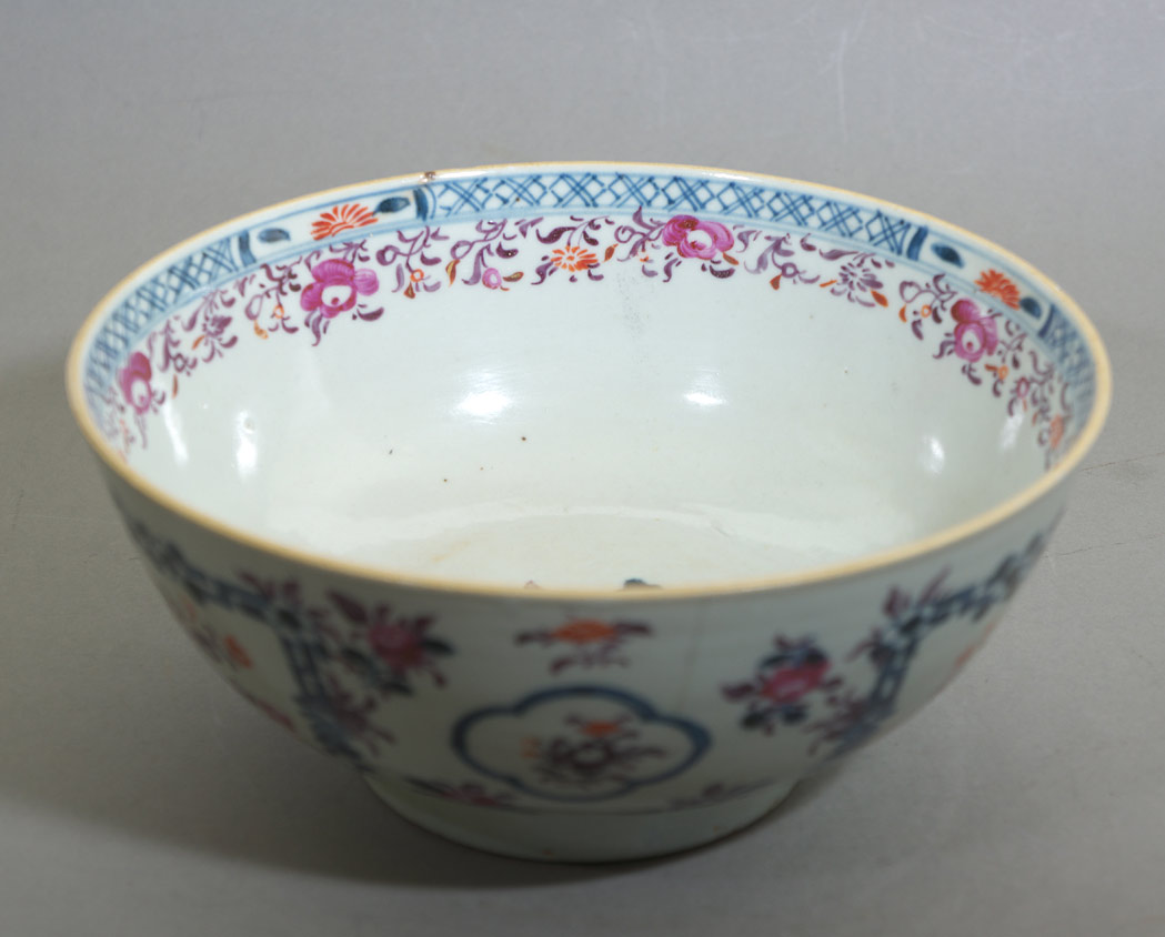 Chinese export famille rose porcelain bowl interior