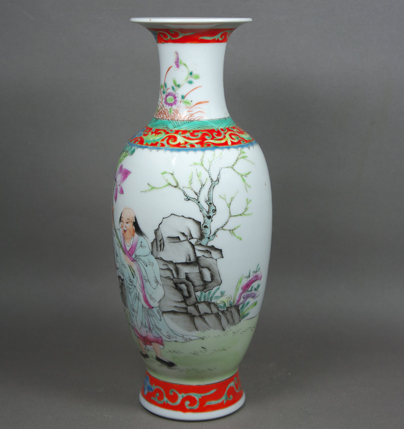 Republic period famille rose porcelain vase view 2
