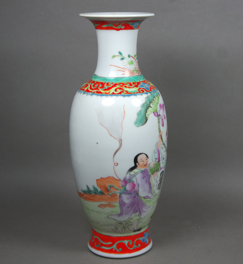 Republic period famille rose porcelain vase view 3
