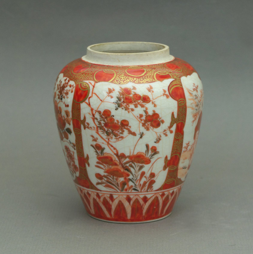 Kutani ginger jar plum blossom panel