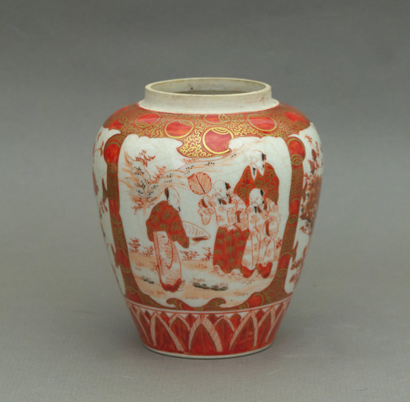 Kutani ginger jar, group of figures panel