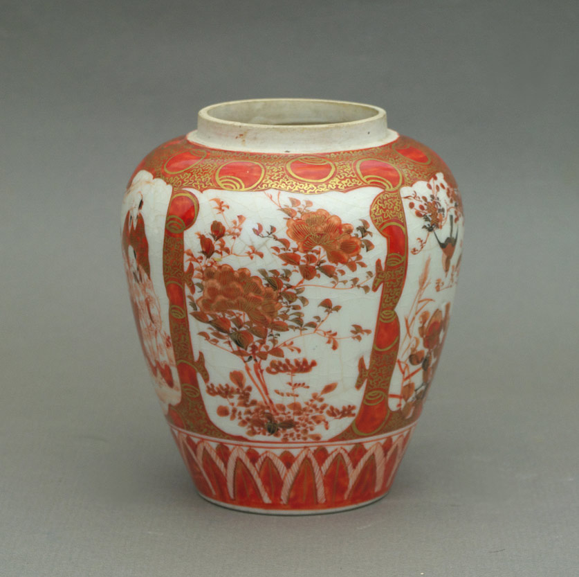 Kutani ginger jar, chrysanthemum panel