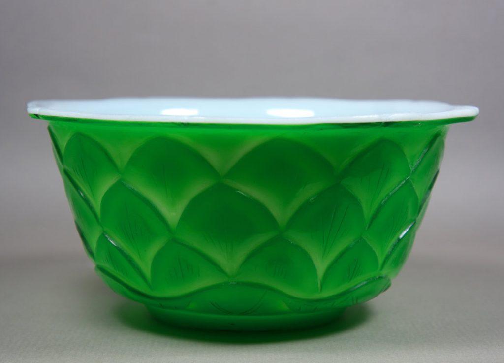 Peking Glass jade green Lotus Bowl #1